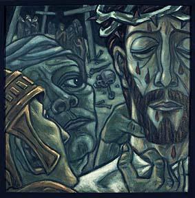 """10. Station:<br>Jesus wird seiner Kleider beraubt<br>Sie machen mit mir, was sie wollen.<br>Ich kann nichts mehr entgegen setzen. Beschämung!<br>Warum ist mir das passiert? Bloßgestellt. Aufgabe nicht bewältigt.<br>Herausforderung """"nicht bestanden""""."""