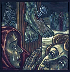 """12. Station:<br>Jesus stirbt am Kreuz<br>Ich muss loslassen. Mich ergeben.<br>Eine Hoffnung stirbt.  Ein Mensch geht.<br>""""Mein Gott, warum hast du mich verlassen?"""" """"In deine Hände lege ich meinen Geist, meine Hoffnung, mein Vertrauen, mein Leben"""".<br>Kommen mir solche Sätze über die Lippen?"""