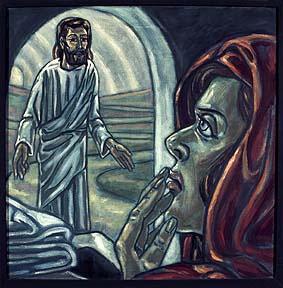"""15. Station:<br>Auferstehung<br>Jesus ist ins Reich des Todes hinabgestiegen.<br>In die Hölle hinabgestiegen. Auch in die Höllenqualen meiner Seele. Kann ich das annehmen, glauben? Rufe ich nach Gott in meiner Seelennot? """"Doch nicht wie ich will, sondern wie du willst? Am 3. Tag aber steht Jesus auf.  An der Hand hat er alle, die zu ihm gehören."""