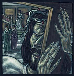 2. Station:<br>Jesus nimmt das Kreuz auf sich fast mit zärtlicher Geste<br>Die Menschen gehen auf Distanz. Wie schwer fällt es mir, mein Kreuz anzunehmen? Zu tragen, was mir auf die Schultern und aufs Herz gelegt wird?