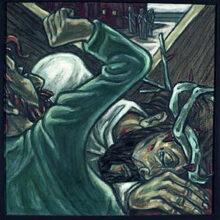 3. Station:<br>Jesus fällt zum 1. Mal unterm Kreuz<br>Das Leben hat mir zu viel zu gemutet. Der Schmerz, die Last ist zu groß. Ich breche zusammen.