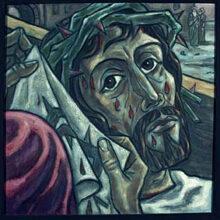 6. Station<br>Jesus begegnet Veronika, die das Tuch reicht. Sie tut, was ihr möglich ist. Ein kleines Zeichen der Verbundenheit.