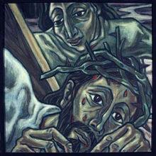 7. Station:<br>Jesus fällt zum 2. Mal unterm Kreuz<br>2. Zusammenbruch. Trotz aller Versuche der Unterstützung:  Ich schaffe es nicht mehr. Ein Rückschlag.