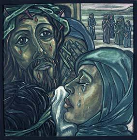 """8. Station:<br>Begegnung mit den weinenden Frauen.<br>Die Tränen fließen. Der Schmerz, das Leid, die Trauer finden einen Ausdruck.<br>Schätze ich die """"Gabe der Tränen""""?<br>Habe ich Möglichkeiten gefunden, dass der innere Schmerz sich äußern kann?<br>Das Gespräch mit einer Freundin, einem Seelsorger, professionelle Hilfe?<br>In der """"Gabe der Tränen"""" kann etwas von dem Schmerz abfließen."""