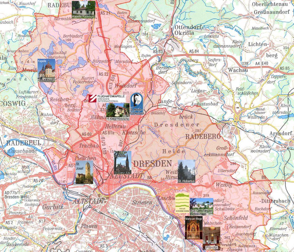 Karte vom Raum Dresden mit kirchlichen Orten