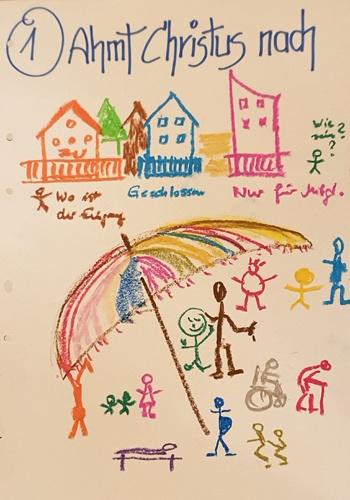 … indem wir keine Mauern bauen, uns nicht abgrenzen, wie unter einem großen Schirm Ist Christus für die verschiedensten Menschen da